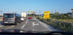 Crossroad above Trogir, turn right
